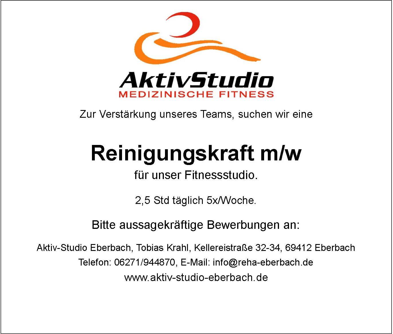 Stellenangebot Reinigungskraft Aktiv Studio